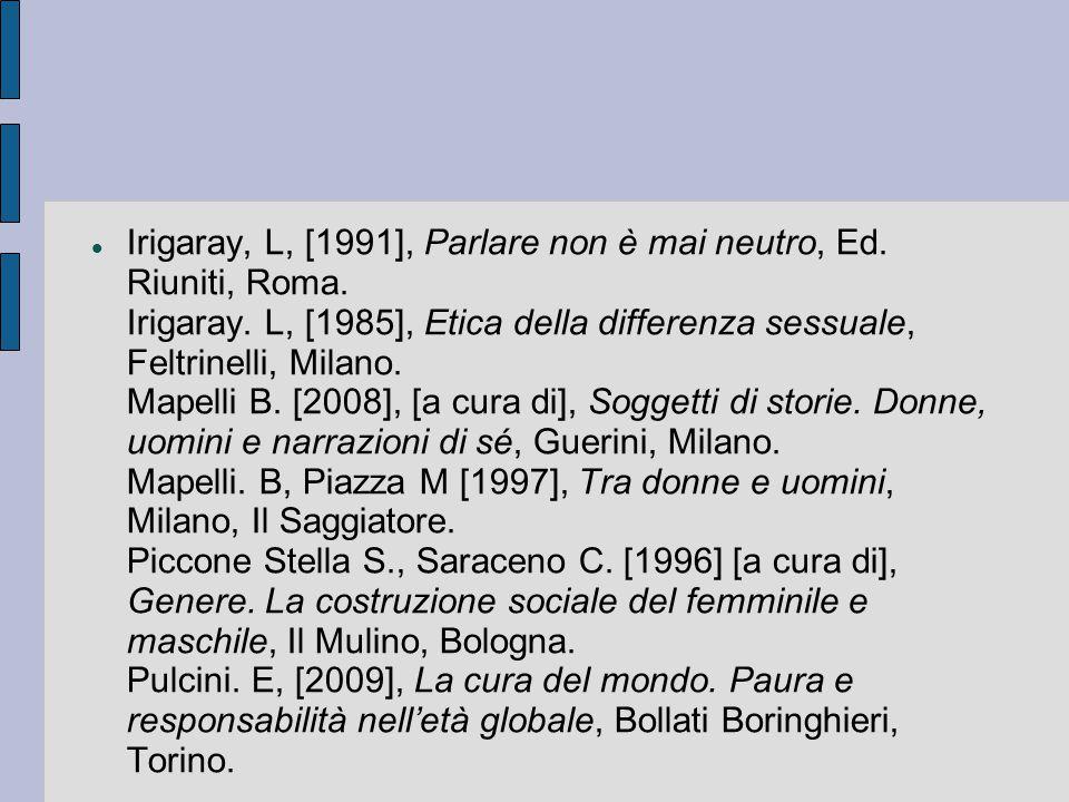 Irigaray, L, [1991], Parlare non è mai neutro, Ed. Riuniti, Roma
